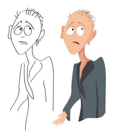 Vector cartoon portrait of a sad disappointed man with sparse hair in a dressing gown and his sketch on a white background