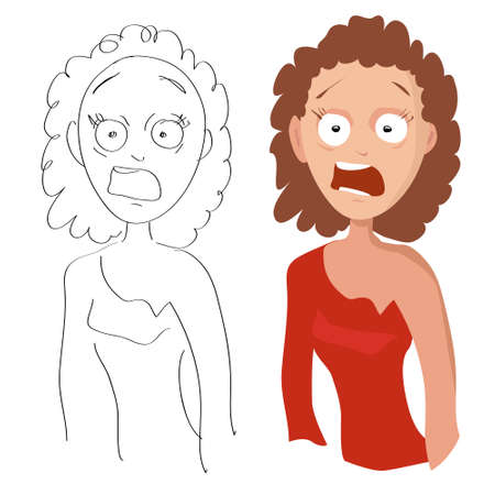 Vector cartoon portrait of a woman screaming in fright in an evening red dress and her sketch on a white background