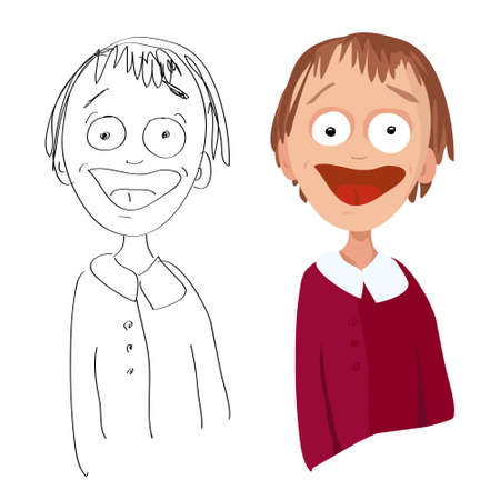 Vector cartoon portrait of a surprised happy man in office clothes and his sketch on a white background Illustration
