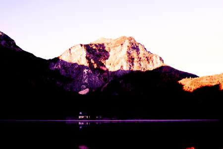 sunrise in the mountains, vorderer langbathsee in upper austria