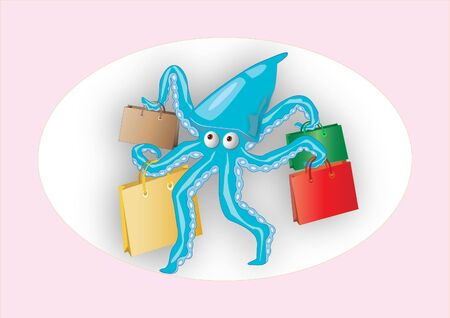 the octopus and a lot of bags with shopping Illustration