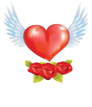 heart with wings and three roses - card, background Illustration