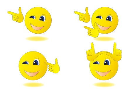 four smiley, showing different gestures Illustration