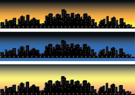Set of  cities silhouette on the background of sunrise, sunset and nigh