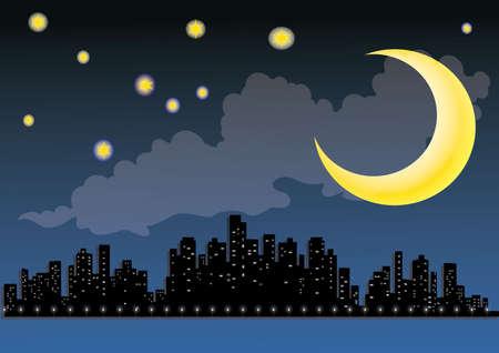sylweta miasta w nocy