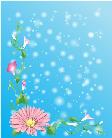background with flowers, green plants and bubbles Illustration