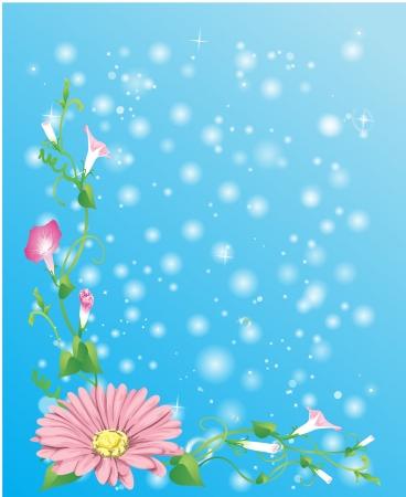 tło z kwiatów, roślin zielonych i pęcherzyki