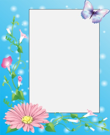 picture frame with flowers, green plants and bubbles