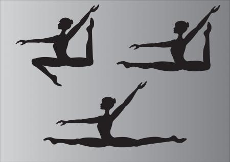 Sylwetka gimnastyków podczas skoku
