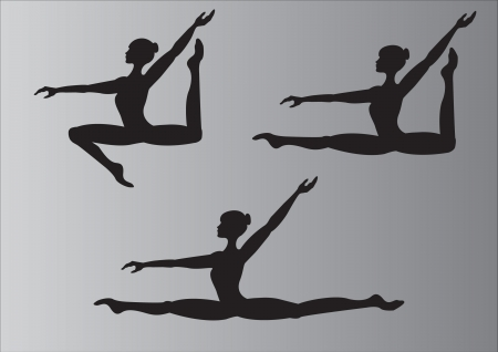 the silhouette of the gymnasts during a jump