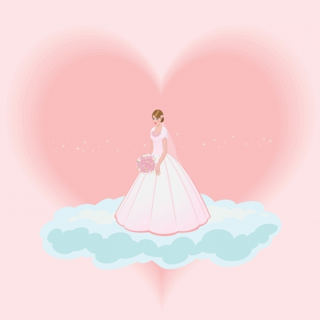 a beautiful young bride with a bouquet in pink dress, in a cloud with the heart in the background