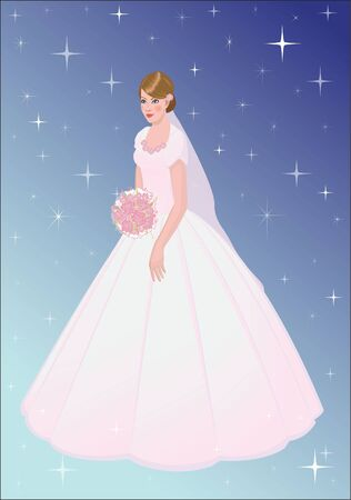 a beautiful young bride with a bouquet, with a blue background Illustration
