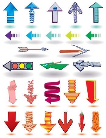 Strzałki w różnych stylach i kształtach na białym