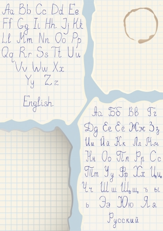 odręczne skrypty, angielski i rosyjski na kawałku papieru