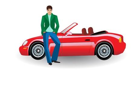 Ilustracja, izolować, ilustracja, młody człowiek, stojący w pobliżu czerwony samochód kabriolet
