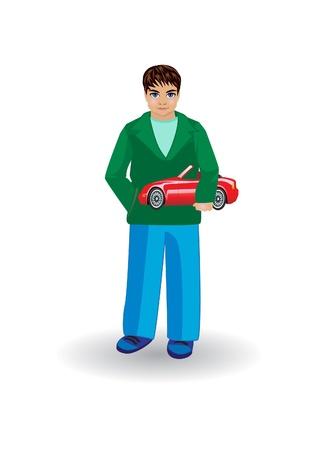 Chłopiec z czerwonym samochodzik Ilustracja