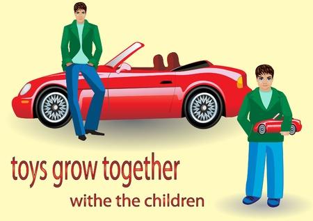 chłopak z samochodu zabawki, a facet z tej samej maszynie rzeczywistej