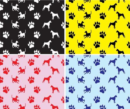ilustracji wektorowych, tło, wzór, z psami i druków stóp