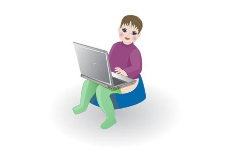 ilustracji wektorowych, izolować, dziecko z laptopa siedzi na garnku