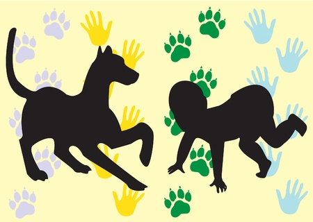vector illustration of the silhouette of the child and the dog on the background of their prints Illustration
