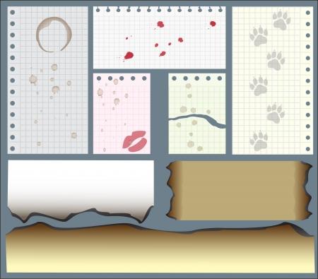 ilustracji wektorowych, zestaw liści z notebooka z odcisków kawy natryskowego, krwi, warg, druki łapami i krawędzi zwęglonych Ilustracja