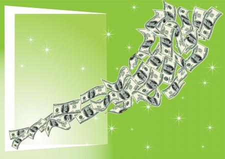 abstrakcja wektor, banknoty dolarów latać w otwartych drzwiach, na zielonym tle