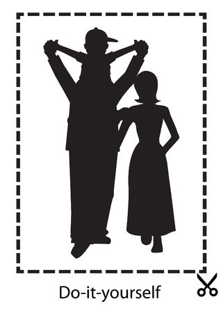 the silhouette of a happy family on a white background, with a label for cutting scissors Illustration