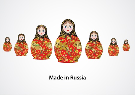 russian nesting dolls: vector illustration from the family of the Russian national toy different , souvenir - matryoshka Illustration