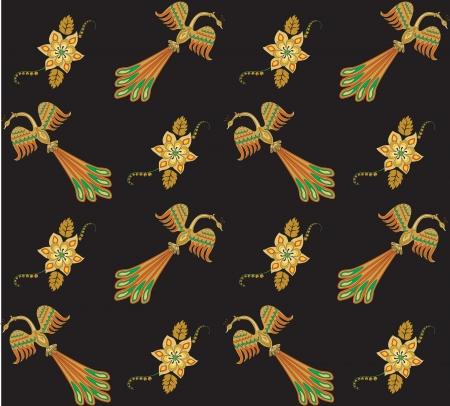 Ilustracja bez szwu deseń z ptaków i kwiatów abstrakcyjnych Ilustracja