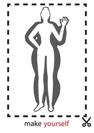 тощий: векторные иллюстрации силуэт толстых и тонких девочек в пунктирной рамкой