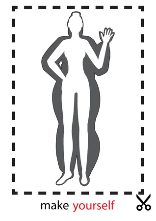 skinny woman: vector illustration of a silhouette thick and thin girls in dotted frame