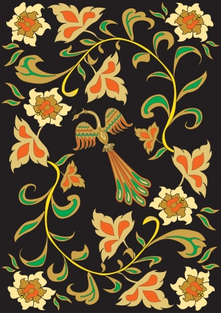 a fantastic bird on a rose Bush Illustration