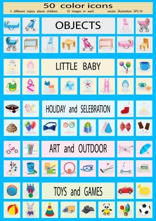 zestaw 50 kolorów, ikony z dzieciństwa, 5 różnych tematów, na 10 zdjęć w każdym