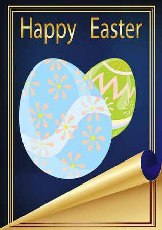 vector illustration, Easter card with the image of eggs on a blue background with a gold frame
