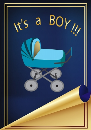 vector greeting card is about the birth of the child, with the image of carriages on the blue background with a gold frame  Illustration