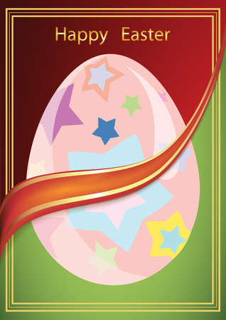 vector illustration, Easter card with the image of the egg in a red-green background
