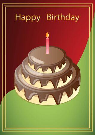 Ilustracja wektora karty z pozdrowieniami z obrazem ciasto czekoladowe ze świecą, w czerwono-zielonym tle z ramką złotą