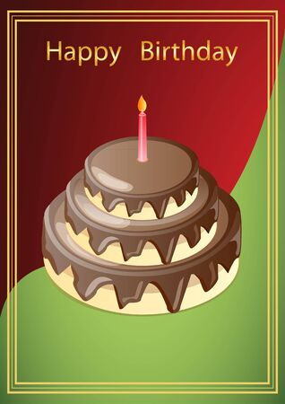 vector illustration greeting card with a picture of chocolate cake with a candle, in a red-green background with the Golden frame