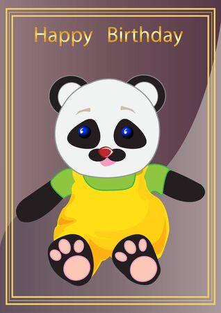 ilustracji wektorowych pozdrowienia karta świąteczna z wizerunkiem misia Panda zabawki