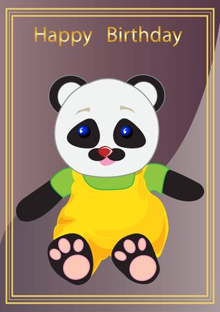 vector illustration festive greetings card with the image of the toy bear Panda Vector