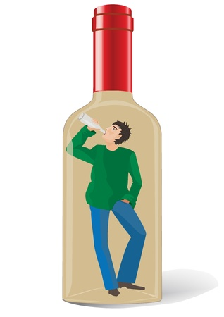 An alcoholic in a bottle Vector