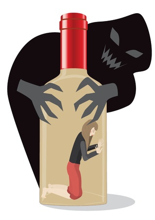 alcoholist: Vrouw in alcoholische opgesloten, ze s op de bodem van de fles en de wolk van het kwaad greep haar met zijn taaie klauwen Stock Illustratie