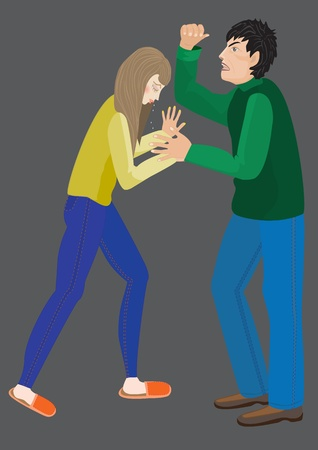 domestic violence: cartoon vector illustration of family violence, her husband beats his wife