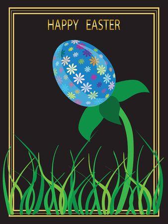 Ilustracja karty Wielkanoc z wizerunkiem jaj kwiat na czarnym tle