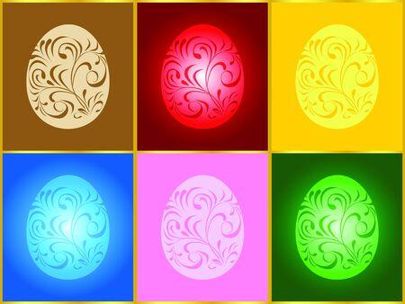 Ilustracji wektorowych z sześciu jaj wielkanocnych w różnych kolorach Ilustracja