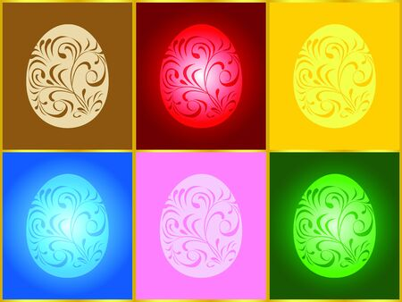 Vector illustration of six Easter eggs of different colors Illustration