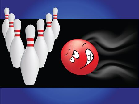 the game in the bowling with cartoon ball hurrying to attack bowling