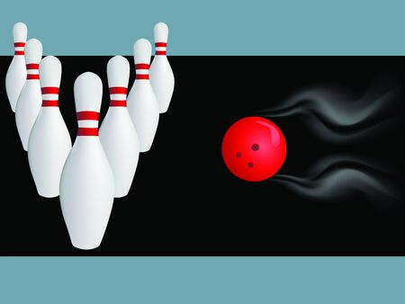 hurrying: vector illustration of the game in the bowling with ball hurrying to attack bowling
