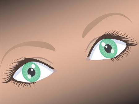 Ilustracja piękna kobieta szeroko otwarte zielone oko