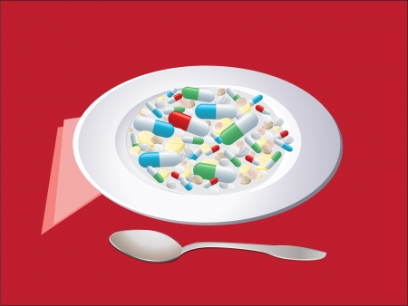 a plate full of pills and capsules, spoon